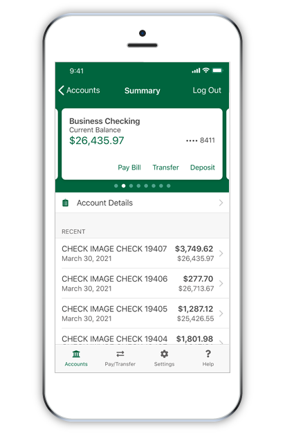 Mobile phone showing banking app