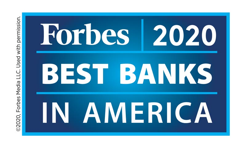 Forbes 2020 Best Bank in America graphic