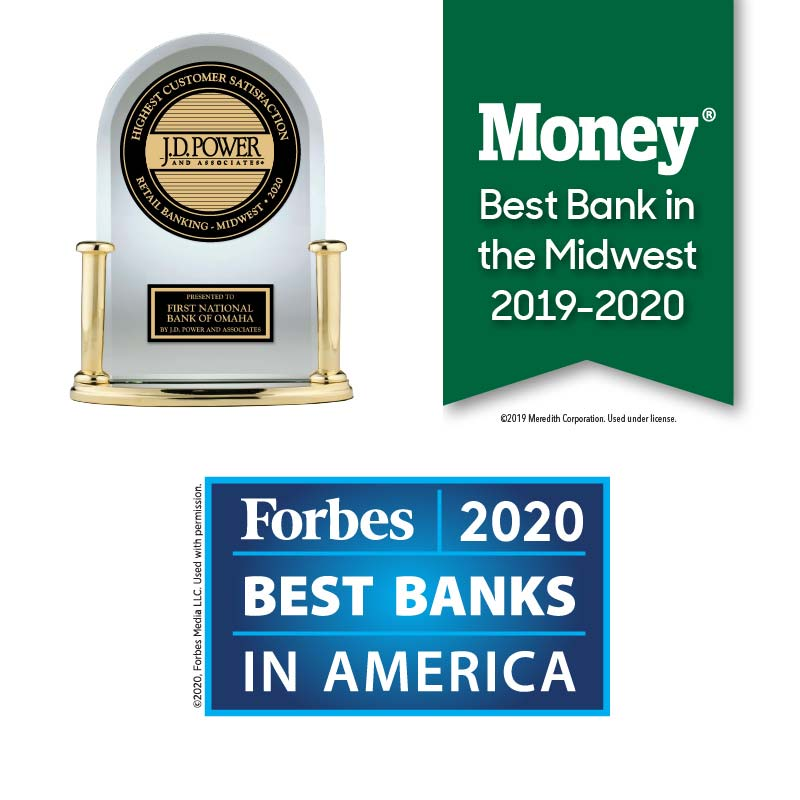 JD Power Award 2020, MONEY Best Bank in the Midwest Award 2019-2020 and Forbes Best Banks in America Award 2020