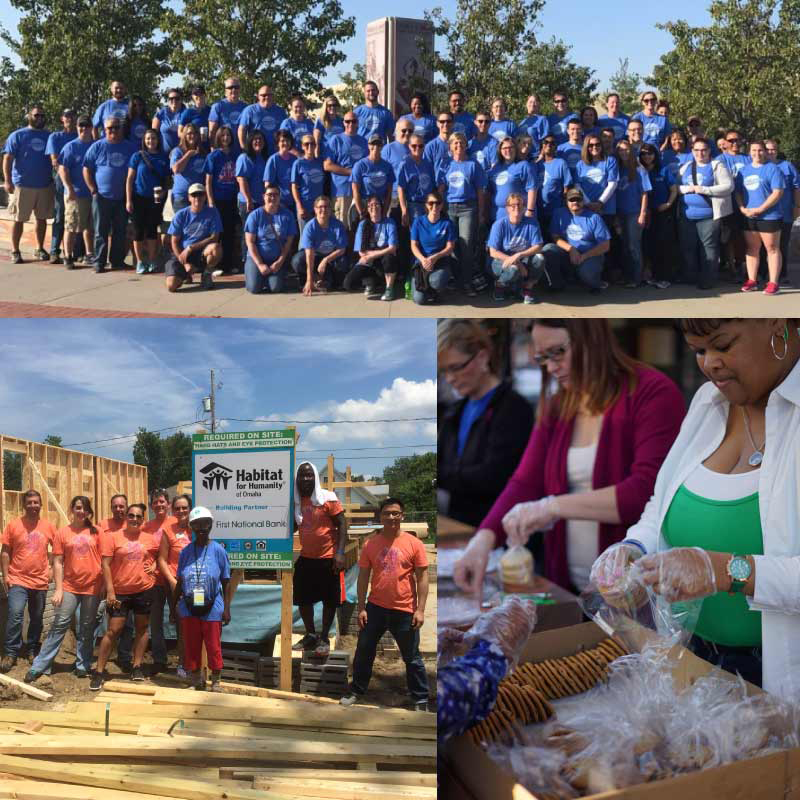 A photo collage of First National Bank employees volunteering in the community