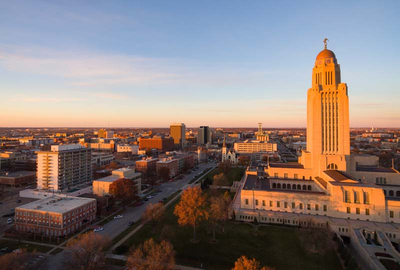 Aerial view of downtown Lincoln and the state capitol