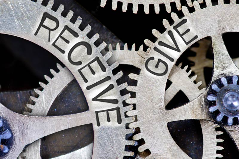 Gears that say Give & Receive