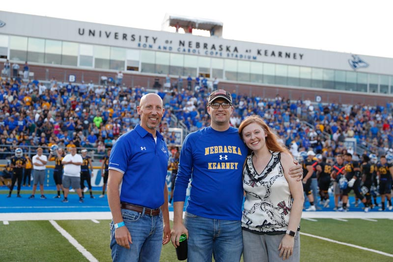 UNK veteran being honored at a football game